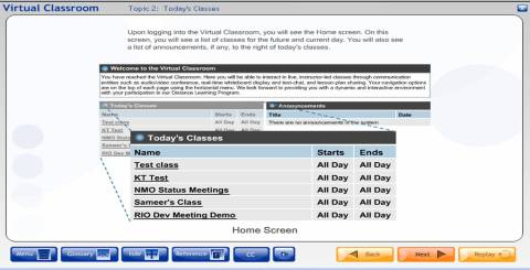 Virtual Classrooom Course Interface